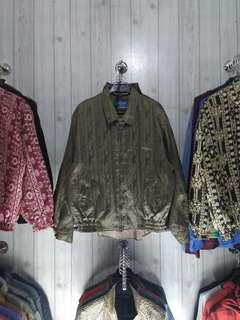 Jaket vintage ijo army full bordir