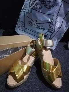 Misyelle wedges gold new murahh