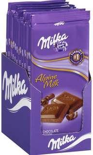 Milka chocolate bars