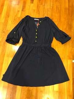 🚚 Navy blue gold button chiffon dress - Fits L XL Uk12 Uk14 Us10 Us12 Plus Size