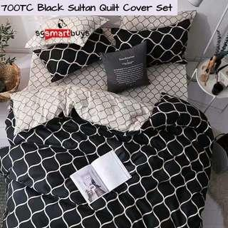Black Sultan Soft Fitted Bedsheet Quilt Cover Set