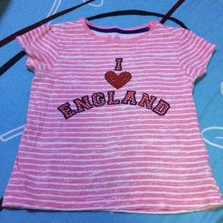 Mothercare I Love England stripy tshirt