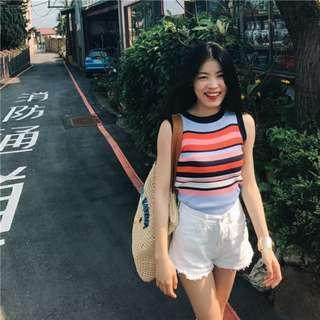 🚚 BN Colourful Horizontal Striped Sleeveless Knitted Top / Shirt