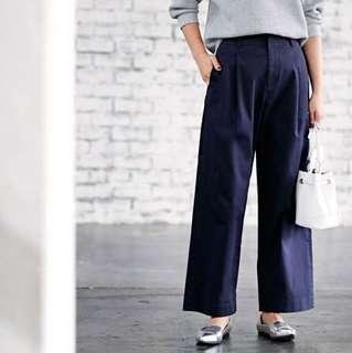Uniqlo high waist chino wide leg pants