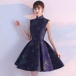 🚚 BN Female Gorgeous Dark Blue Galaxy Pattern Short Evening Dress / Prom Dress