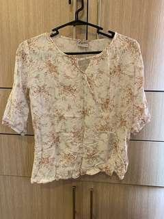 Floral Cross over top / office blouse / floral Shirt