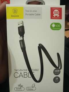 Usb cable charging 2.1A fast charge baseus 2 in 1 andriod and apple