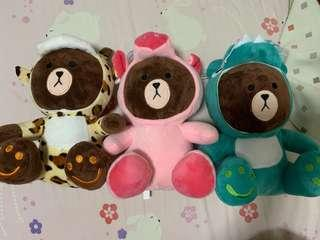 Line Brown bear stuff soft toy hoodie