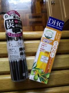 DHC Cleansing Oil and Detclear Charcoal Peeling Gel