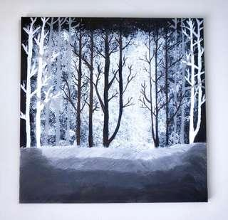 Canvas Painting black mystery tree forest