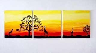 🚚 Canvas Painting giraffe sunset