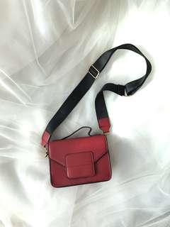 Pretty Red Structured bag with Wide Strap