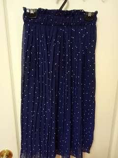 日系 深藍 花苞 荷葉邊 百折裙 雪紡 點點