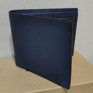 Coach Wallet Bifold Crossgrain Leather Dark Denim