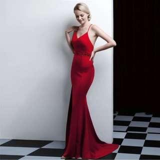 🅱️Amber V-Neck High Slit Bead-Waist Cross-Back Mermaid Sleeveless Tea-Ceremony / Evening / Wedding Long Dress - Red [BO252]