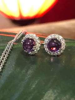 Amethyst Cabochon with CZ Stud Earrings in Silver 925