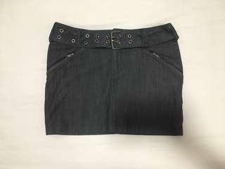 Black denim mini skirt with belt