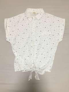 Cute Eiffel tower patterned front ribbon blouse