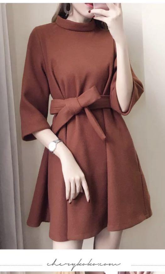七分袖洋裝