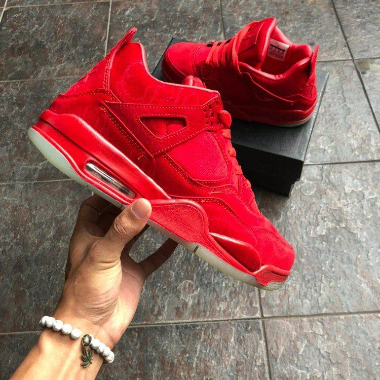 5c21d582df6b0b Air Jordan 4 X Kaws Red Basketball Shoes