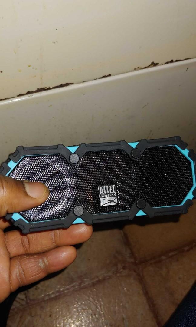 Altec Lansing black and blue mini lifejacket Bluetooth speakers