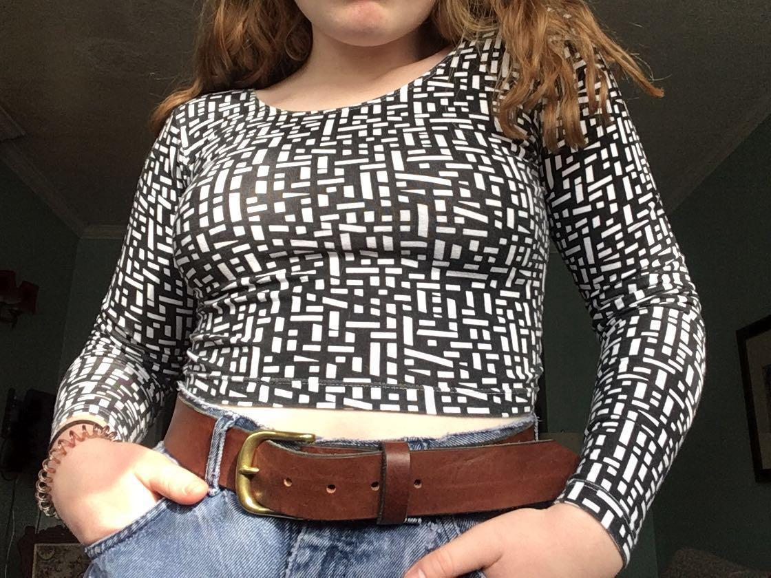 American apparel patterned long sleeve crop top