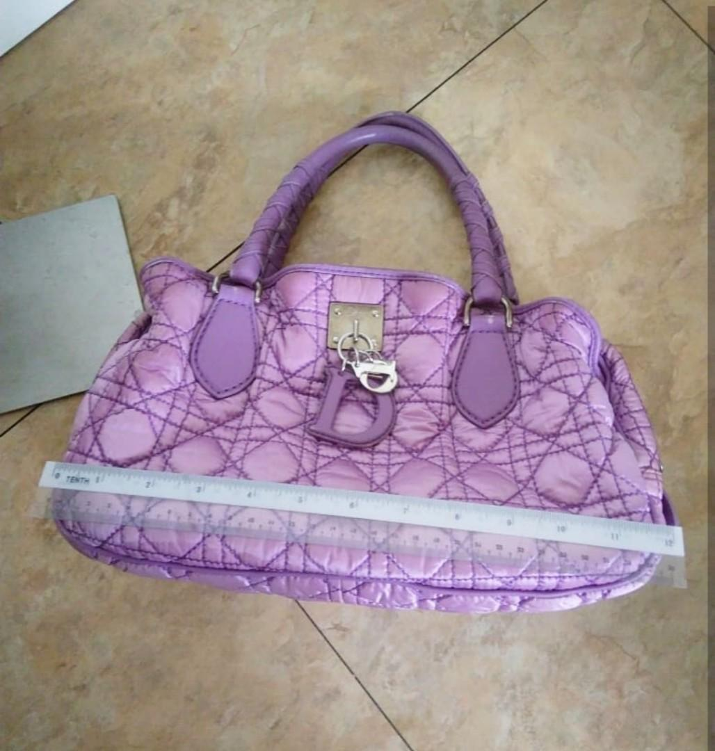 "AUTHENTIC DIOR QUILTED ""LADY DIOR CANNAGE"" QUILTED TOTE BAG - SILK SATIN CANVAS - (BOUGHT AROUND RM 4000+) - RM 360 ONLY"