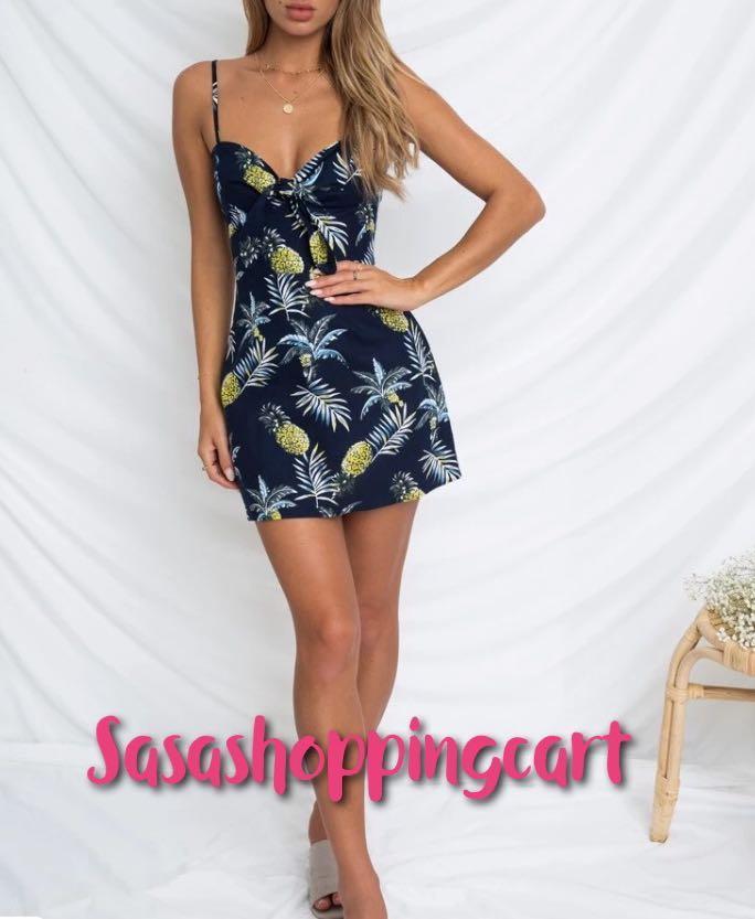 (Blue) Pineapple Print Slip Dress Deep V Dress Female Summer Resort Summer DRESS
