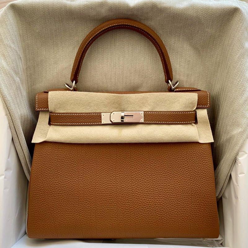 15d5fe2073bd7 Bnib Hermes Kelly 28 Gold a Togo PHW #C, Luxury, Bags & Wallets ...