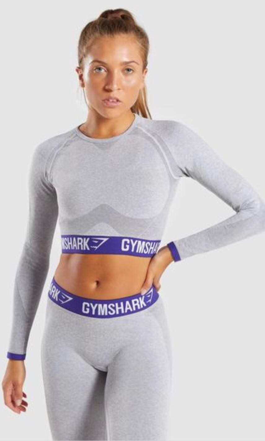 e11d524838b0dd Brand new with tag Gymshark Long sleeve crop top - light grey marl ...