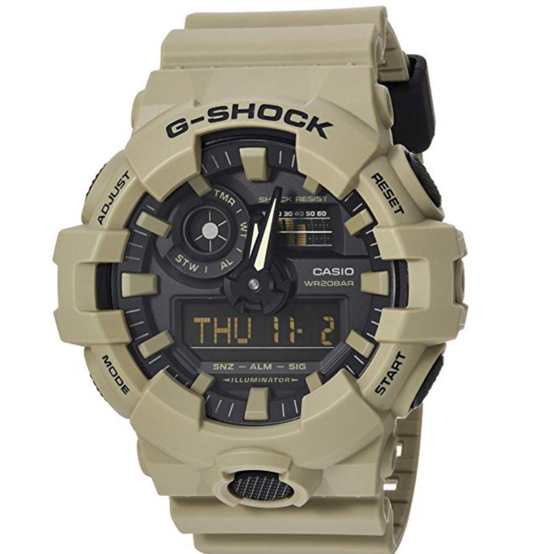 Casio Men's 'G Shock' Quartz Resin Casual Watch, Color:Beige (Model: GA-700UC-5ACR)
