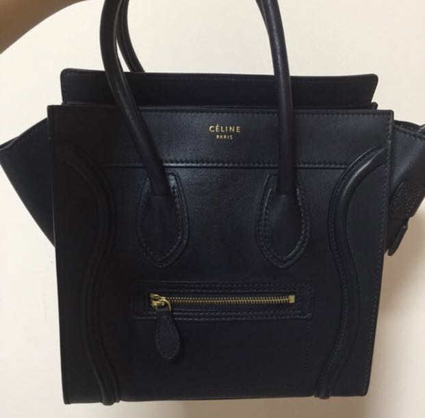 133ba46637 Celine Micro Luggage hand bag navy blue used twice only