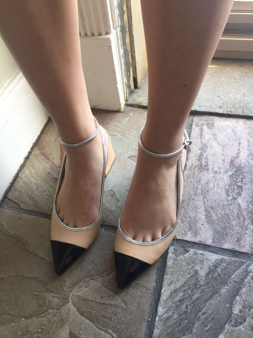 Chanel inspired beige and black capped slingback shoes
