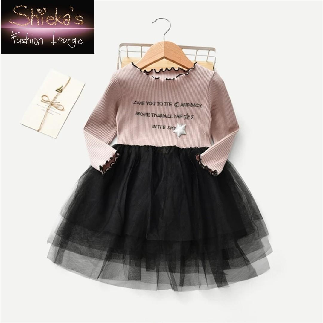 Frill and Contrast Mesh Toddler Dress Sizes: 4t 6t 7t