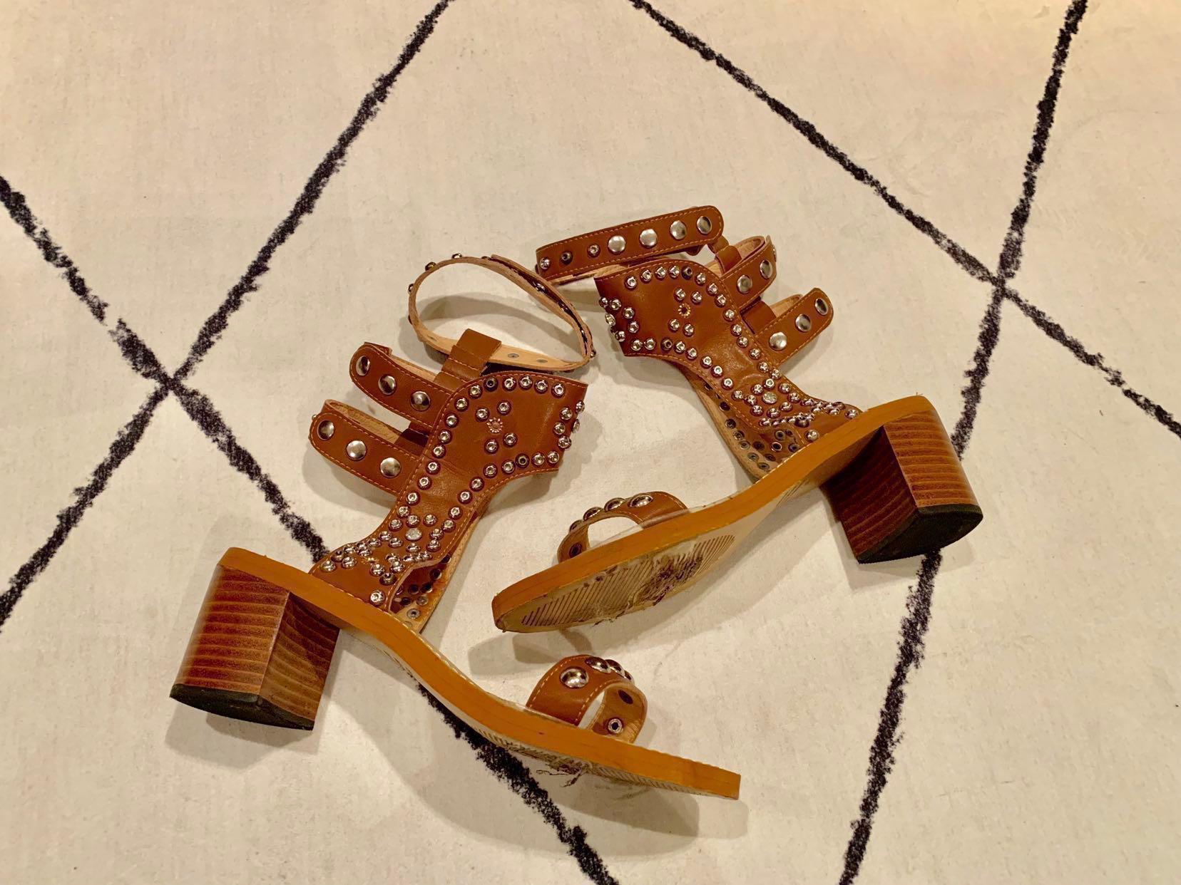 005dd418e56 Isabel Marant Carol studded sandals leather heels designer shoes ...