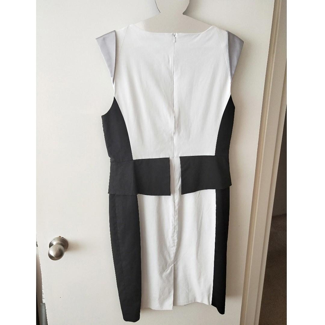 Karen Millen Black White Silver Colourblock Pencil Dress Sz 14-16