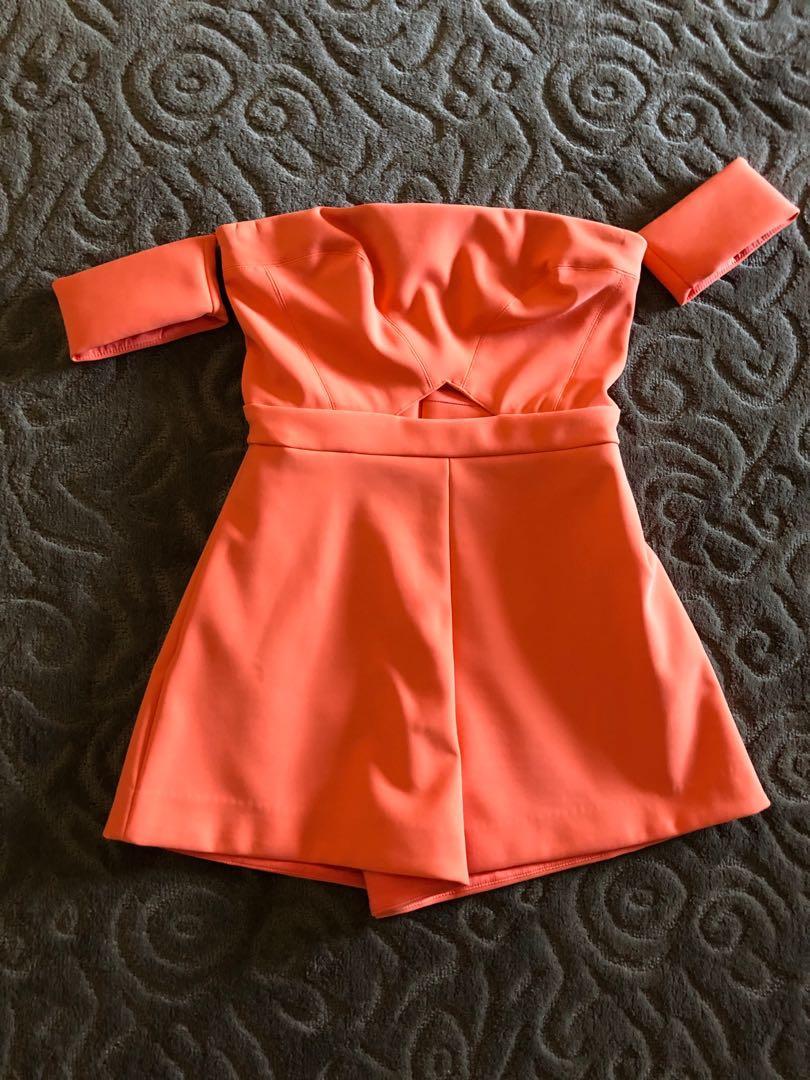 KOOKAI - orange of the shoulder playsuit (shorts) WORN ONCE