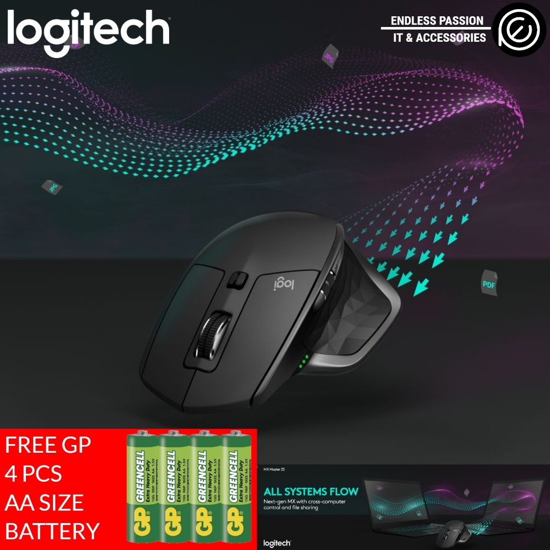 Logitech MX Master 2S Wireless Mouse with Flow Cross-Computer Control and  File Sharing for PC and Mac, Graphite