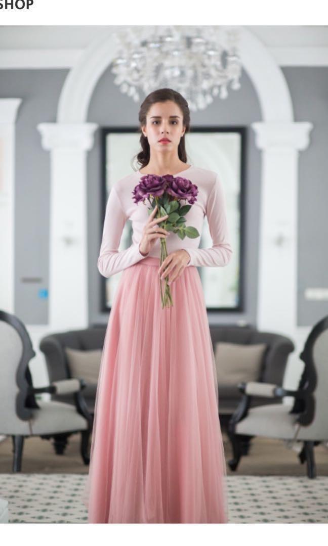 Melda maxi tulle skirt in rose