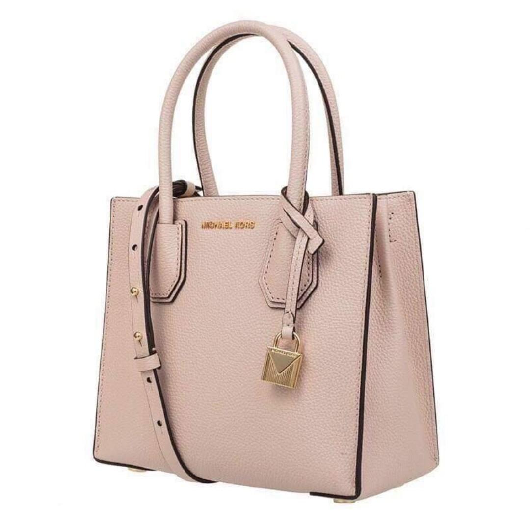 e950ffaf812f Michael Kors Mercer Bag Pebbled Leather Accordion Tote Handbag Sling Bag  Crossbody Bag Women s Bag SOFT PINK