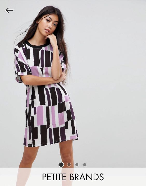 38210c7dd783 Noisy May Petite Graphic Print T-shirt Shift Dress in Purple and ...