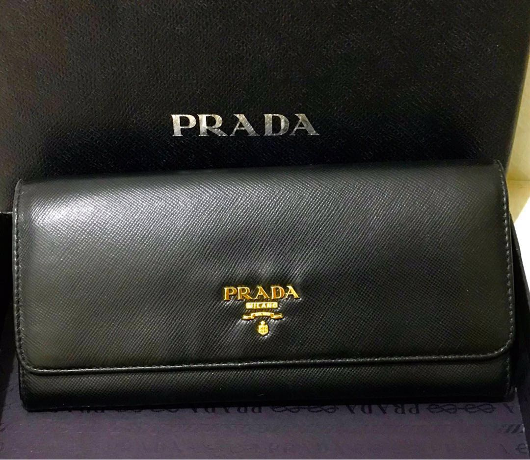 9af93f87f6a9d6 Prada Tricolor Saffiano Leathet Wallet /Black with Pink Red Beige ...