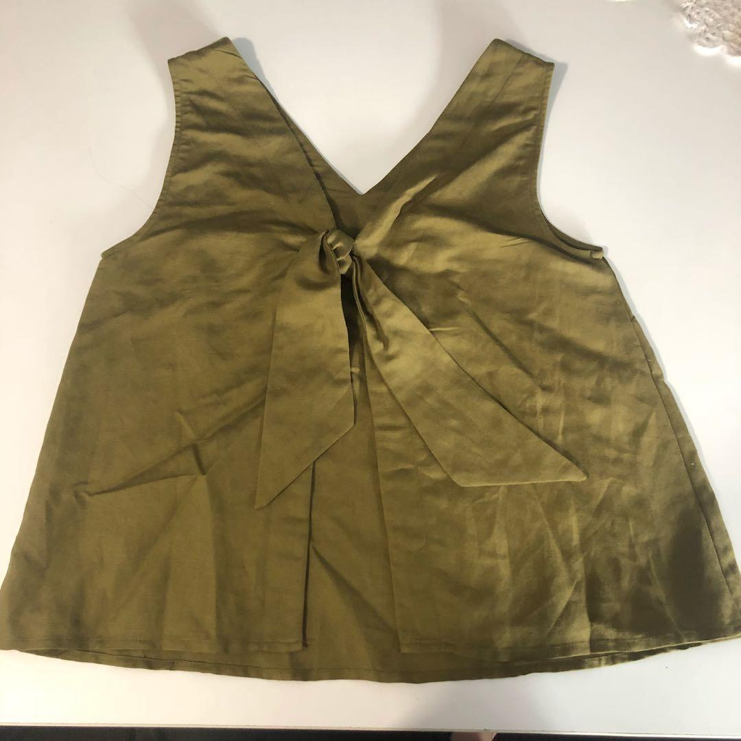 *REDUCED* PRINCESS HIGHWAY KHAKI GREEN BACKLESS CAMI SINGLET TOP SIZE 6
