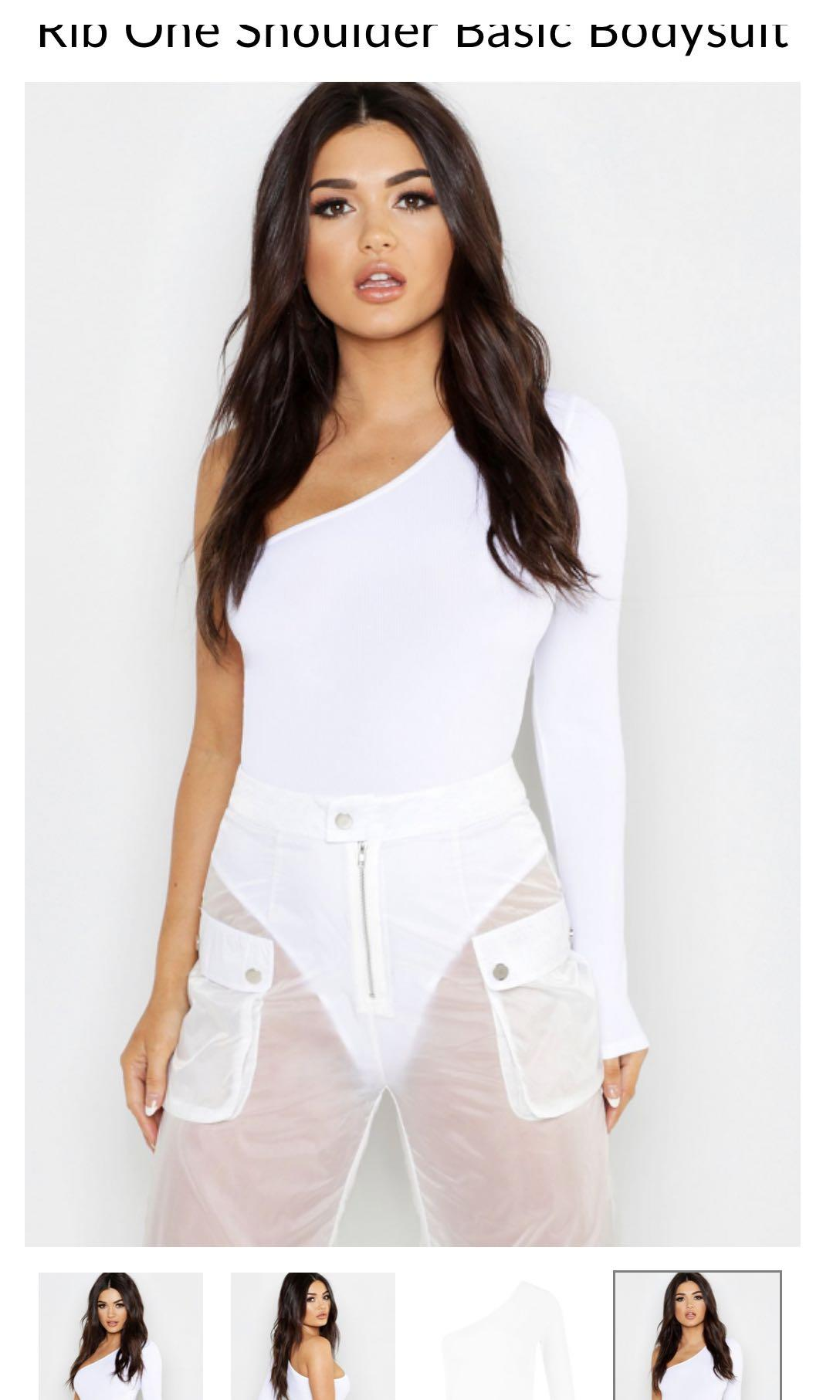 Rib One Shoulder Basic Bodysuit