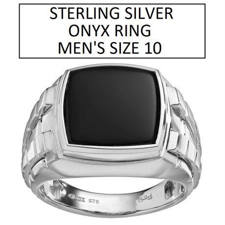SILVER ONYX RING MEN'S SIZE 10