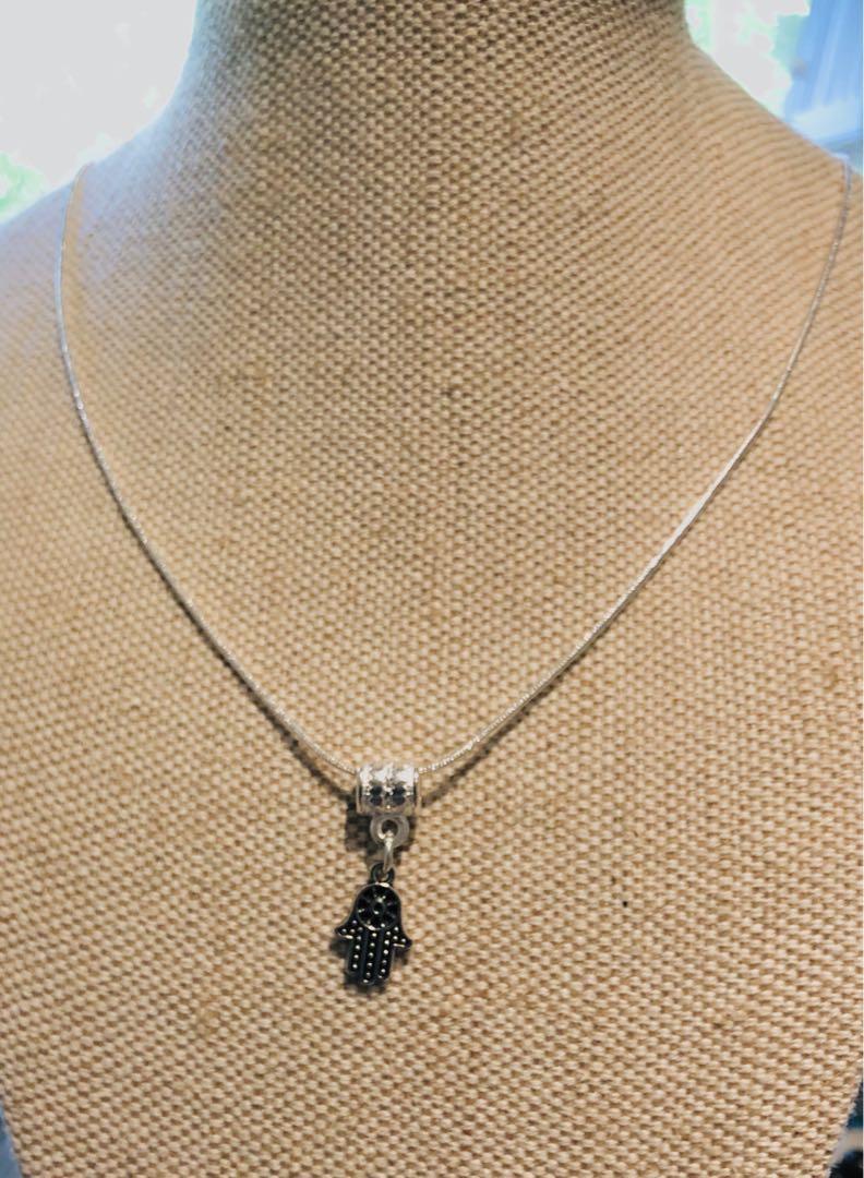 silver small FATIMA/HAMSA HAND pendant and 925 sterling silver necklace chain