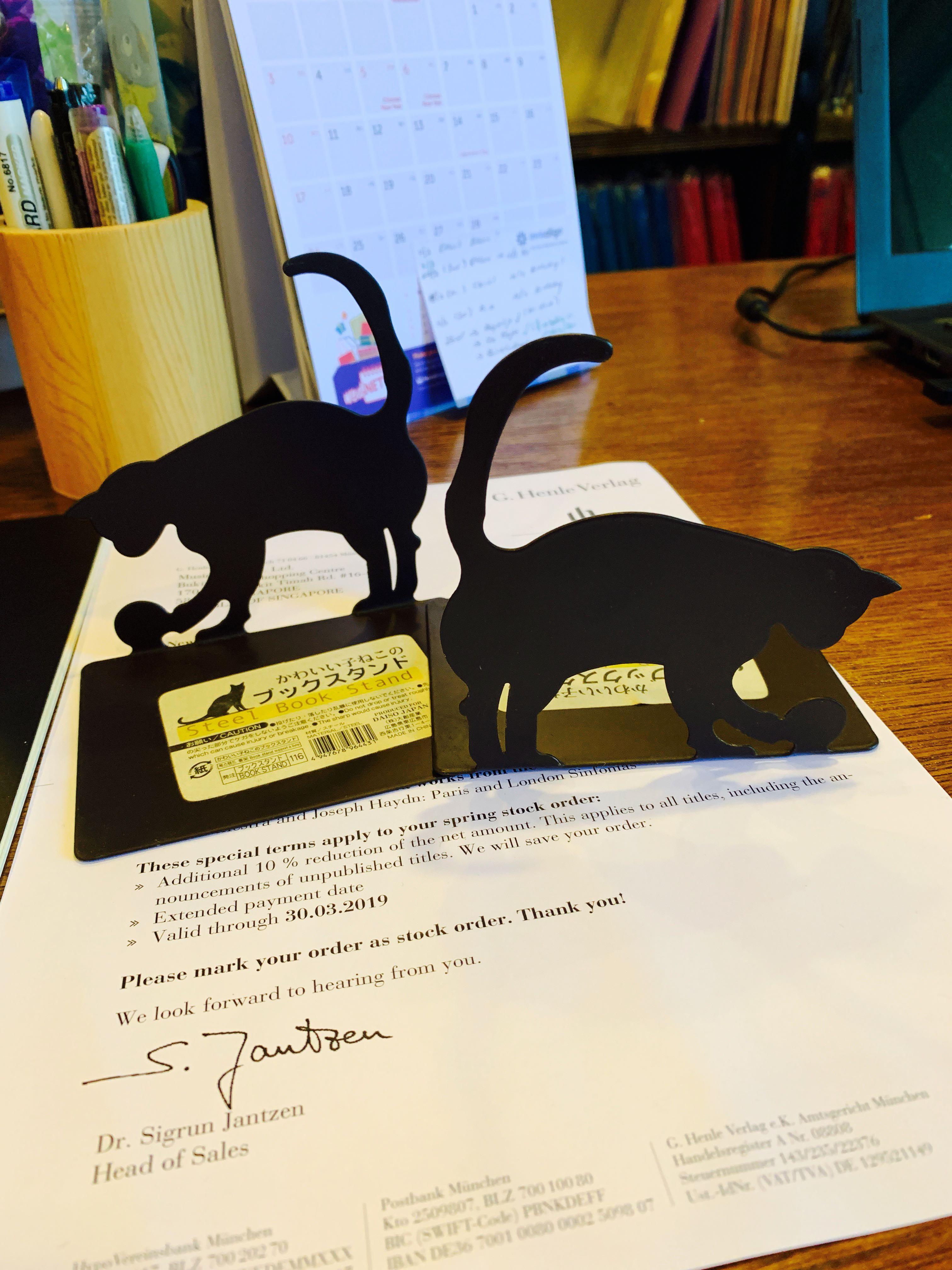 Steel Book Stand - Black Cat