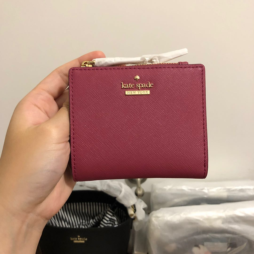 e2926b63f SUPER RARE INSTOCK Kate Spade Cameron Street Adalyn Small Bifold Wallet  Cinnabar Red Maroon Purple Pink, Women's Fashion, Bags & Wallets, ...