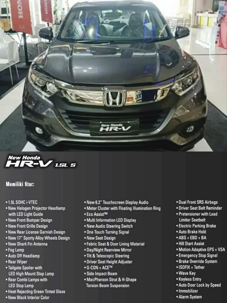 The All New Honda HR-V 1.5L S CVT. JABODETABEK ONLY!!!