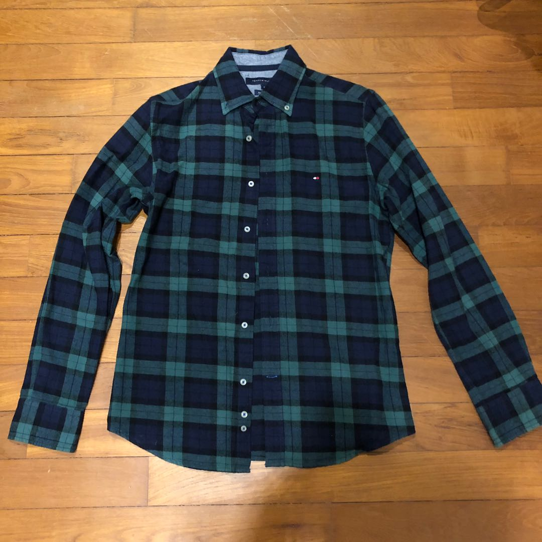f82371f3 Tommy Hilfiger Green Flannel Check Shirt, Men's Fashion, Clothes ...